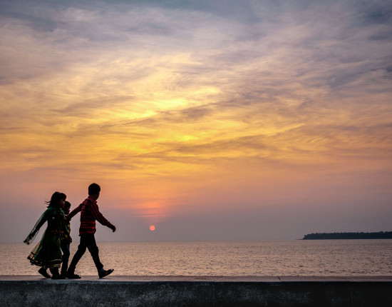 Kids walking along Marine Drive