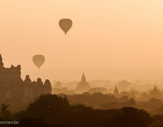 Pagoda at sunrise in Bagan
